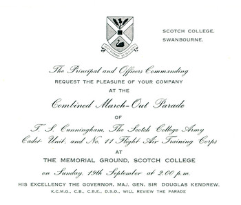1965 Scotch College Combined March Out Parade Invitation