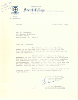 1965 Letter to Mr Alisdair Courtney from Secretary to Scotch College Council J. F. Ockerby 1965.10.12