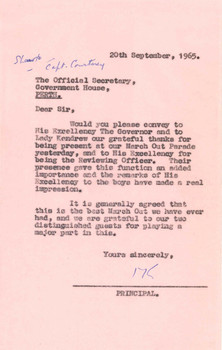 1965 Letter to the Official Secretary Government House (Governor Douglas Kendrew) from Principal Headmaster Maxwell Keys