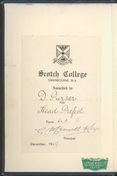 1948 A Learner's Dictionary of Current English awarded to David Pursar OSC