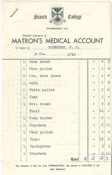 1960 Matrons Medical Account D M Sounness OSC
