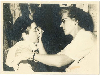 1950s photograph of Teacher Mrs Seacombe and Tom Stacy OSC1959