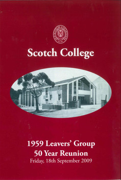 2009 1959 Leavers Group 50 Year Reunion Programme