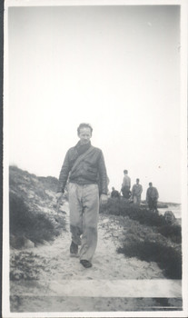 1944 Master Peter Cowan on coastal excursion at Gnowangerup Beach, Western Australia