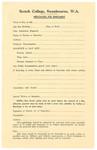 1952 Scotch College Application For Enrolment form