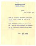 1952 Charachter reference letter for Keith Hall OSC1957