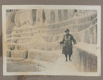 1916/1917 Frozen Waterfall Hendon photograph of Bert Hill at the Welsh Harp, Brent Reservoir, London