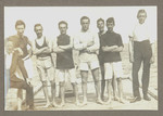 1916c Rowing Crew Four on the deck of the Scotch College Boatshed featuring Geoffrey Maxwell OSC1918 fourth from right