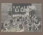 1916 Scotch College Rowing Crews at Boatshed featuring Geoffrey Maxwell OSC1918 fifth from back right