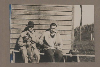 1918c Geoffrey Maxwell OSC1918 right and Friend left with Golf Clubs