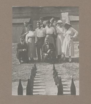 1918 Geoffrey Maxwell OSC1918 third from left and Friends playing a Bottle Game