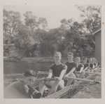 1955 Rowing Crew Second Eight VIII at Boatshed Freshwater Bay
