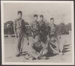 1955 Pipe Band performers Colin Hodgson OSC1955, Ian Montgomery OSC1957, Robert Pidgeon OSC1955, John Utting OSC1958, Searas Henderson OSC1957 and Brian Leach OSC1955